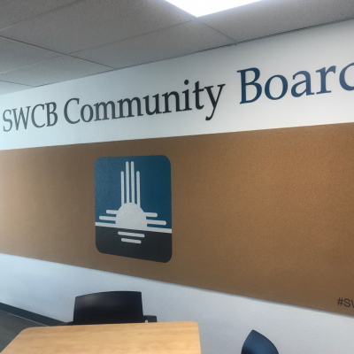 SW Capital Bank Custom-printed Cork Board and Contour-cut Lettering